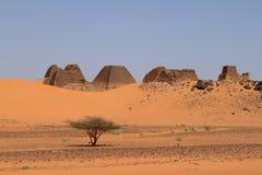Pyramids of Meroe in the Sahara of Sudan Stock Photo