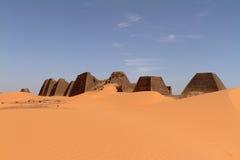 Pyramids of Meroe in the Sahara of Sudan Royalty Free Stock Images