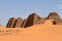 Pyramids of Meroe in the Sahara of Sudan Royalty Free Stock Photo