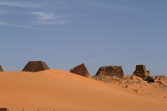 Pyramids of Meroe in the Sahara of Sudan Royalty Free Stock Image