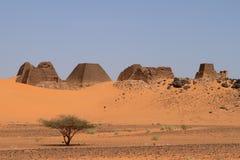 Pyramids of Meroe in the Sahara of Sudan Stock Image