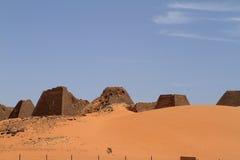Pyramids of Meroe in the Sahara of Sudan Royalty Free Stock Photos