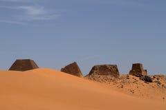 Pyramids of Meroe in the Sahara of Sudan Royalty Free Stock Photography