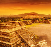Pyramids of Mexico over sunset Royalty Free Stock Photos