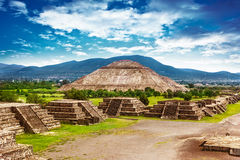Pyramids of Mexico. Pyramids of the Sun and Moon on the Avenue of the Dead, Teotihuacan ancient historic cultural city, old ruins of Aztec civilization, Mexico royalty free stock photo