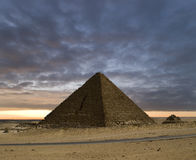 The Pyramids New Day. A new day at the Pyramids of Gizeh near Cairo in Egypt stock images