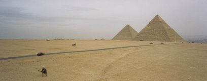 Pyramids panorama cairo egypt Royalty Free Stock Photography