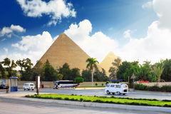 Pyramids and present day of Giza town Stock Photos