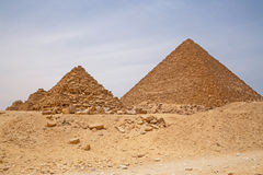 Pyramids of Queens and Pyramid of Menkaure. In Giza, Egypt Stock Photography