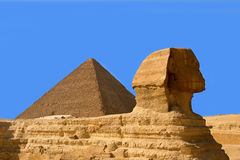 Pyramids and sphinx Royalty Free Stock Photography