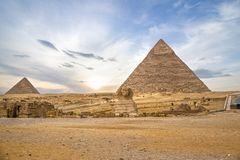 Pyramids and Sphinx in Giza stock photos