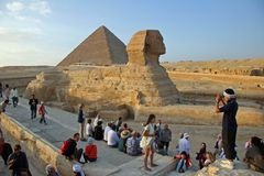Pyramids & Sphinx Royalty Free Stock Photo