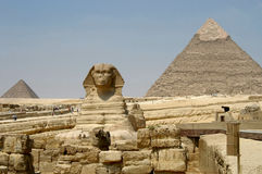 Pyramids and Sphynx Royalty Free Stock Photo
