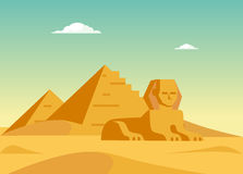 Pyramids And Sphynx Royalty Free Stock Photography