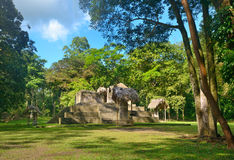 Pyramids and Stella in archaeological park Cebal in Guatemal Stock Photography