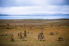 Pyramids from stones, Iceland Stock Images