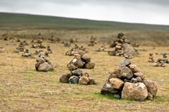 Pyramids from Stones, Iceland Stock Photo