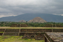 Pyramids of the Sun and Moon on the Avenue of the Dead, Teotihuacan Royalty Free Stock Images