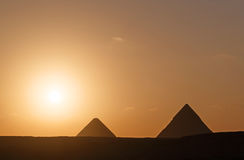 Pyramids at sunrise. Landscape with two pyramids at sunrise Royalty Free Stock Images