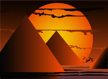 Pyramids on sunset. Royalty Free Stock Image
