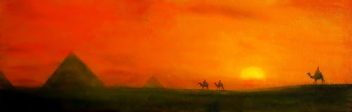 Pyramids at sunset, and dromedar. Painting and graphic effect. Stock Photo