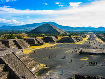 Pyramids of Teotihuacan. View of the complex of the ancient pyramids of Teotihuacan in Mexico. View of the Pyramid of the sun, from the Pyramid of the moon stock photos