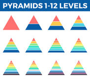 Pyramids, triangles with 1 - 12 steps, levels. Pyramids, triangles for infographics. Diagrams with 1 - 12 steps, levels. Vector design elements Stock Images