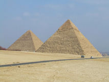 Pyramids. Two of the Egyptian pyramids in the sun of Egypt Royalty Free Stock Photo