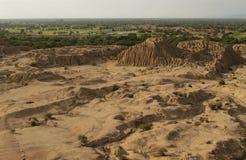 Pyramidsettelment i Peru nära Chiclayo Arkivfoton