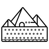 Pyramidsymbolsvektor trianglar egypt stock illustrationer