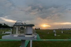 Pyranograph at meteorology field with green grass and when sunset under cloudy sky stock image