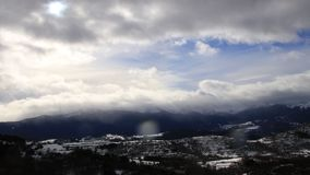 Pyrenean mountain in Ariege, France. Pyrenean mountain in Ariège with moving clouds filmed in timelapse, Donezan in Occitanie, South of France stock video footage