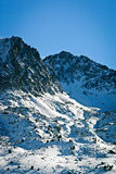 The Pyrenees, France. The snowy peaks of the Pyrenees, the mountain range that acts as a natural border between the south-west of France and the north-east of Stock Image