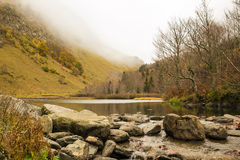 Pyrenees landscapes. The beautiful landscapes of the Valle de Aran, the river Arriu forms a little lake near the famous waterfalls of Sauth deth Pish Royalty Free Stock Photos