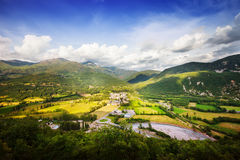 Pyrenees mountain landscape with village Stock Image
