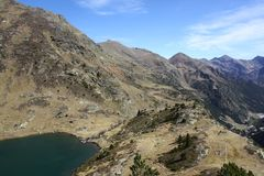 Pyrenees mountains. Panoramic view from spectacular mountains and lake in Andorra, on the Pyrenees royalty free stock photography
