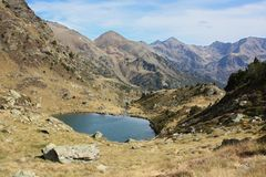 Pyrenees mountains. Panoramic view from spectacular mountains and lake in Andorra, in the Pyrenees royalty free stock photography