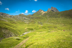 Pyrenees mountains frontera del Portalet, Huesca, Aragon, Spain.  Royalty Free Stock Images