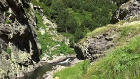 Pyrenees (Spain) Vall de Nuria. Valley in the mountain Pyrenees of Spain stock footage