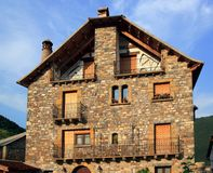 Pyrenees stone houses in Anso valley Huesca Stock Images
