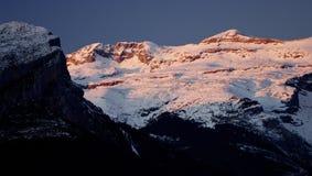 Pyrenees. Sunset in snowy mountain, Ordesa National Park, Pyrenees, Huesca, Aragon, Spain royalty free stock image