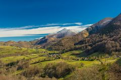 Pyrenees valley in early winte Stock Image