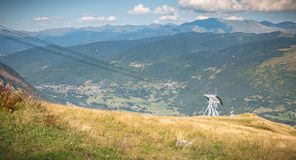 Pyrenees view from the Pla D Adet ski resort. Next to Saint Lary, France royalty free stock image