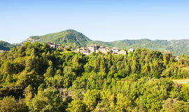 Pyrenees village in forest. Puyarruego Royalty Free Stock Photography