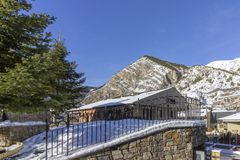 Pyrenes mountain view from town of Canillo. Andorra. Stock Photos