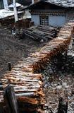 Pyres in tibetan courtyard Royalty Free Stock Photos