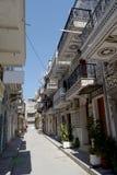 建筑学在pyrgi村庄,希俄斯海岛,希腊 库存图片