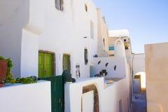 传统希腊建筑学圣托里尼海岛Pyrgos村庄 免版税库存照片