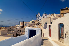Pyrgos village in Santorini. stock image
