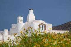 Pyrgos Village in Santorini stock photos